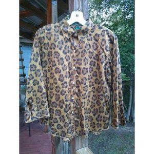 Lauren Ralph Lauren Leopard Button Shirt Blouse